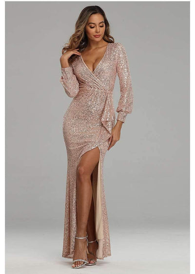 Fashion Sexy V neck Paillette Evening Dresses