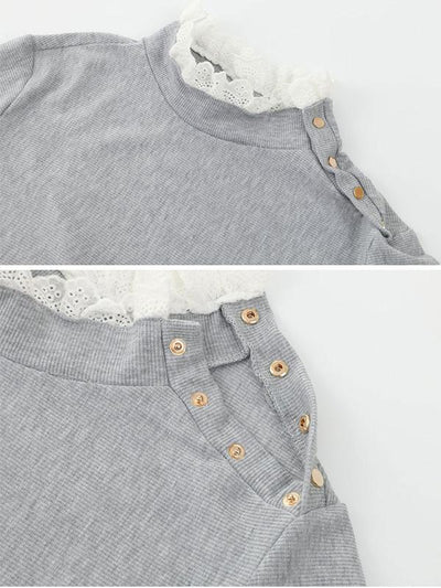 Round collar Lace Hem with shoulder button design Long Sleeve T-shirts