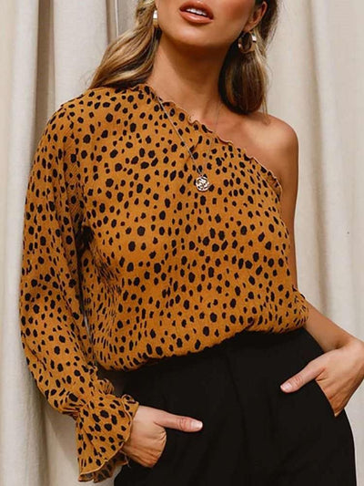 Fashion Sext Leopard print Single shoulder Long sleeve T-Shirts