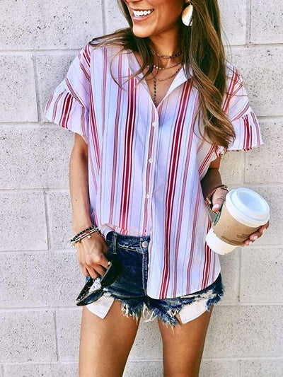 Fashion Casual Stripe Short sleeve Lapel Blouses