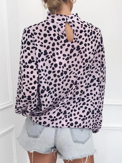 Long sleeved sexy button comfortable printed blouse