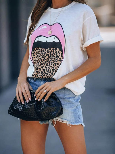 Loose Tongue printed round neck white Short sleeve T-shirts