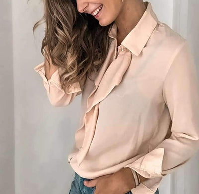 Pure Lapel Falbala Long sleeve Blouses
