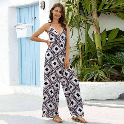 Casual Loose V neck Vest Jumpsuits