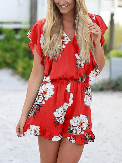 Fashionable printed v-neck ruffled jumpsuits