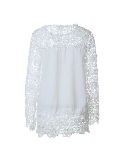 Long sleeve chiffon hollowed-out floral lace Blouse