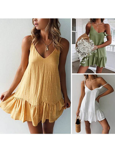 Women Chic Strap Plain Fashion Cotton Shift Mini Dresses