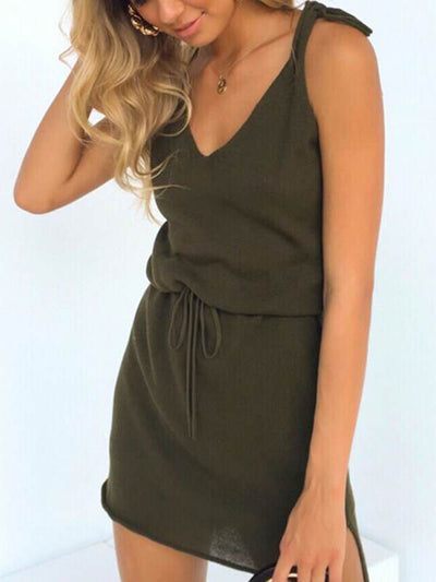 Fashion casual v-neck lace-up irregular bodycon dresses