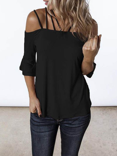Sexy suspenders word collar flared sleeves t-shirts