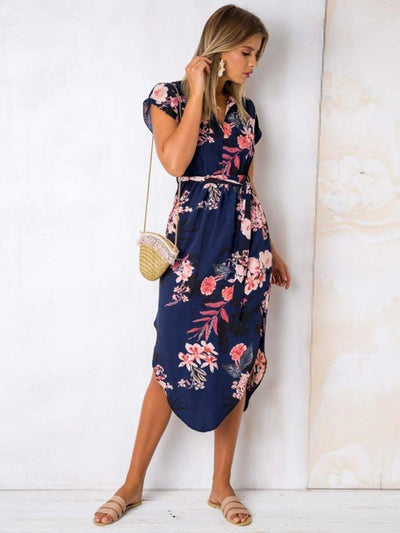 Sexy v-neck floral printed  long maxi dresses