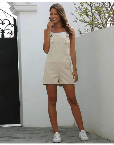 Casual Pure Pocket Short Jumpsuits