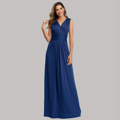 Fashion V neck Pure Sleeveless Evening Dresses
