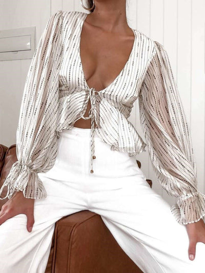 Casual Sexy V neck Long sleeve Stripe Blouses