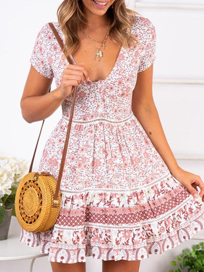 Sexy v-neck floral beach dress vacation dresses