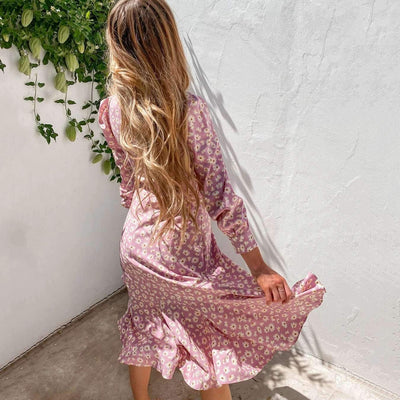 Casual Print V neck Long sleeve Lacing Skater Dresses