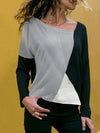 Popular stitching color round collar casual long sleeve T-shirt