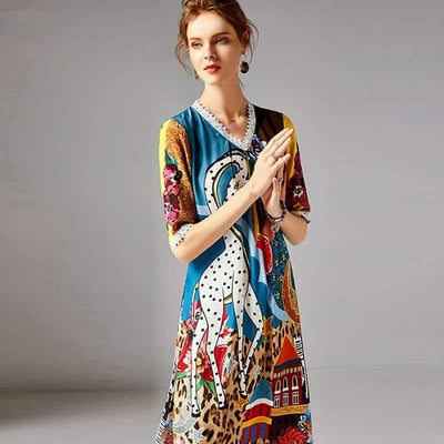 Casual Print V neck Half sleeve Vacation Dresses