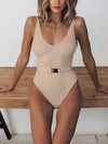 Woman One-piece Button Down Swimsuit