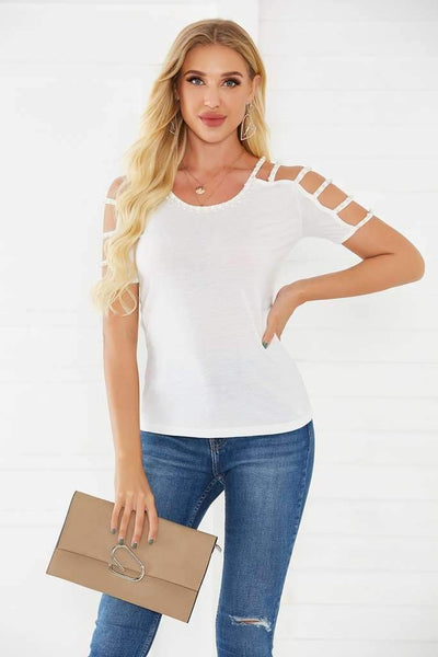 Fashion Pure Hollow out Short sleeve Round neck T-Shirts