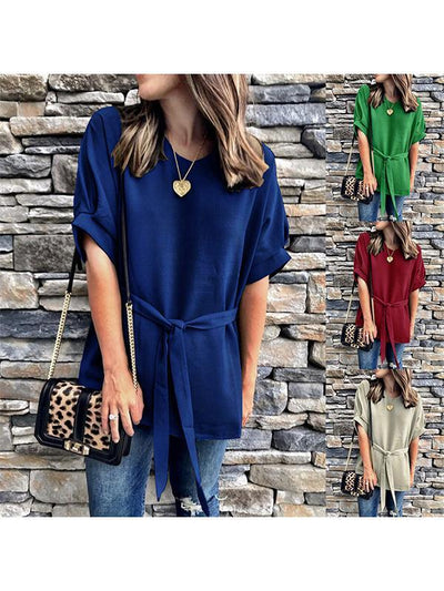 Loose short sleeve  v-neck bat sleeves plus-size Tie blouses