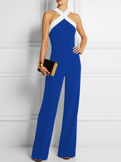Stylish Band Collar Women Sleeveless Long Jumpsuits
