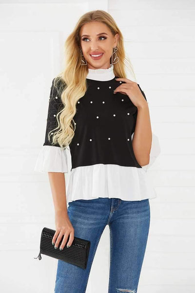 Fashion High collar Gored Three quarter sleeve Blouses