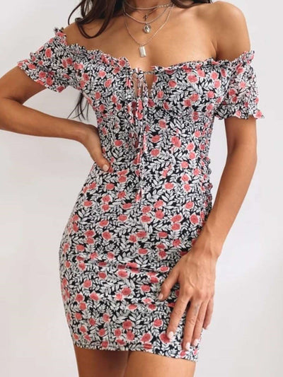 Sexy Print One shoulder Lacing Short sleeve Bodycon Dresses