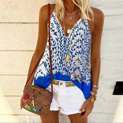 Fashion Sexy Print V neck Vests