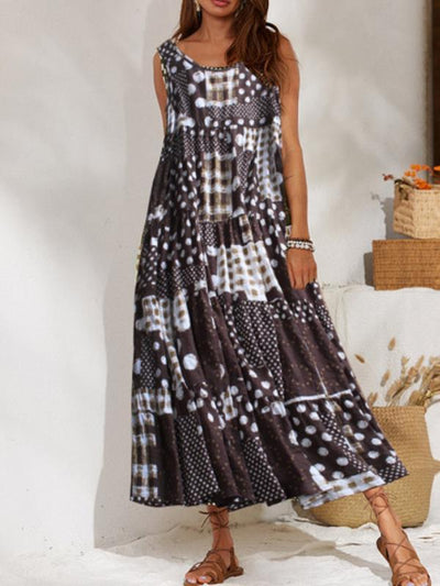 Vintage Printed Round Neck Long Maxi Dresses