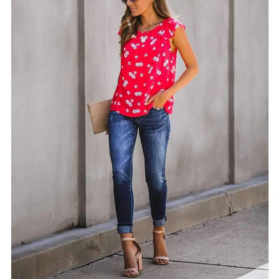 Fashion Print Round neck Sleevelessa Falbala T-Shirts