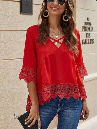Fashion Pure V neck Lace Hollow out Half sleeve Blouses