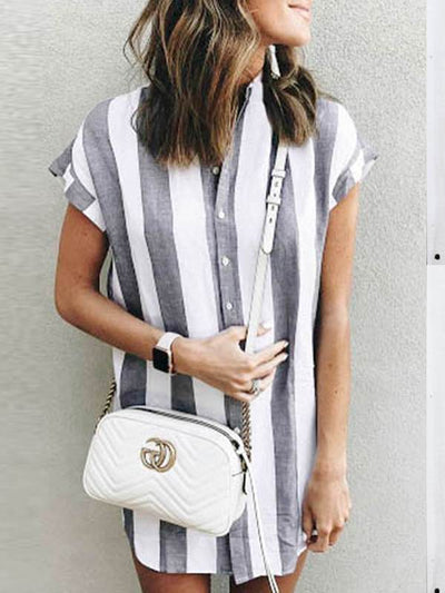 Casual Loose Women Short Sleeve Stripe Blouses