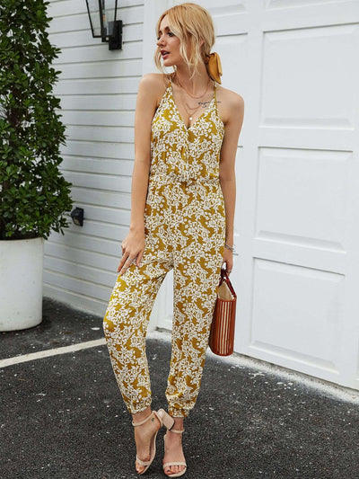 Fashion Print V neck V neck Sleeveless Jumpsuits