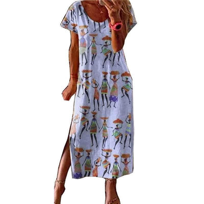 Fashion Print Round neck Short sleeve Maxi Dresses