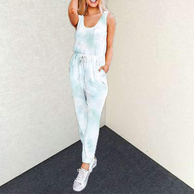 Fashion Round neck Sleeveless Lacing Jumpsuits