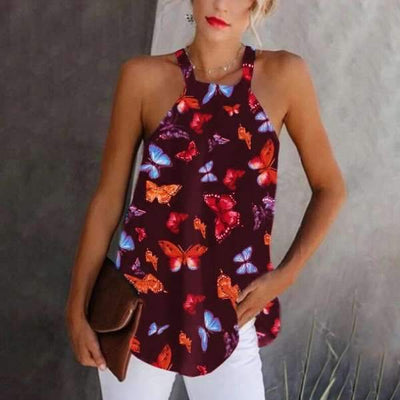 Sexy Print Square collar Sleeveless T-Shirts