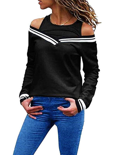 Round Neck Off Shoulder Special Design Woman Sweatshirt