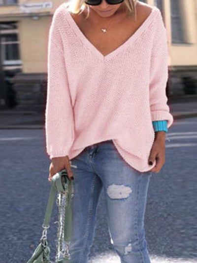 V Neck Long Sleeve Woman Daily Casual Sweater