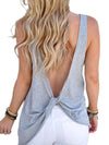 Summer Woman Backless Round Neck Fashion Plain Vests