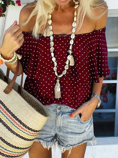 Stylish polka dot printed off shoulder short sleeve T-shirts