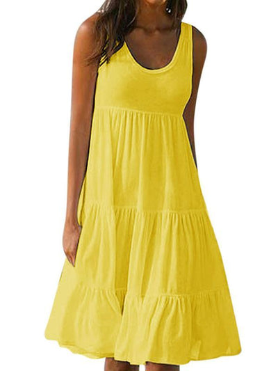 Sleeveless round collar patchwork beach vacation dresses