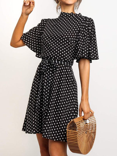 High collar Women Fashion Wave Dot Skater Tie Dresses