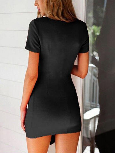 Beautiful summer pure color v-neck bodycon dresses