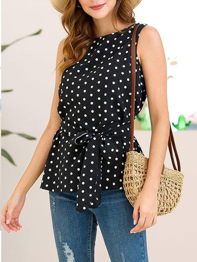 Women Fashion Chiffon Wave pot Tie bowknot Sleeveless Blouses