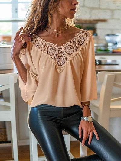 V neck chiffon plain lace decoration blouses