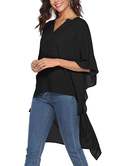 Daily Loose Large Size Woman V neck Short Sleeve Blouse