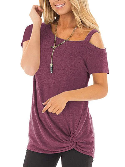 short sleeves one off shoulder twisted T-shirt