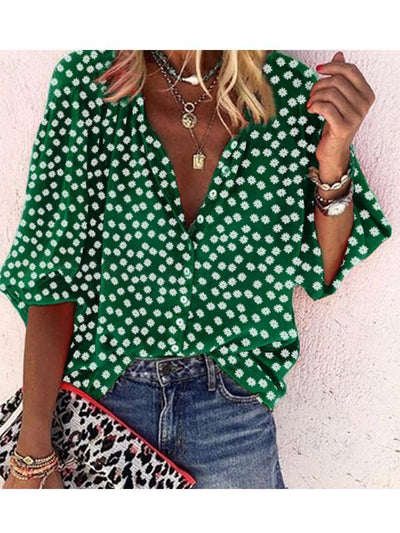 Women v neck button printed wave pot blouses