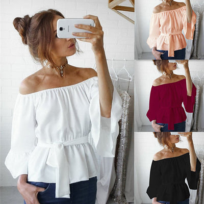 Fashion Women's Ladies Summer Long Sleeve Loose Casual Shirt