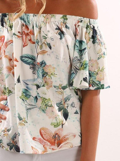 Sexy flared sleeves off shoulder Floral Printed Blouses